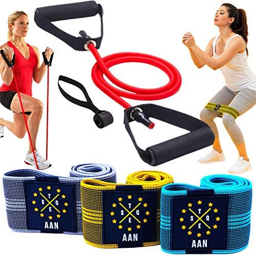 AAN 3 Fitnessbänder Stoff +1 Set Resistance Band Fitness mit Griffen, rutschfest, Workout für ganzkörper und Muskelaufbau. Fitnessband Booty Band Loop hip Bands Widerstandsbänder Sport bänder