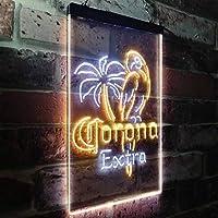 Corona Parrot Beer Bar Man Cave LED看板 ネオンサイン バーライト 電飾 ビールバー 広告用標識 ホワイト+イエロー W30cm x H40cm