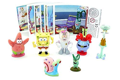 Kinder Überraschung Satz SpongeBob Schwammkopf Figuren mit allen Zetteln aus dem Ü-Ei