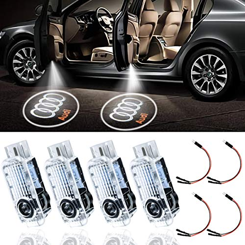 Eogifee Car LED Door Courtesy LED Laser Projector for The Replacement of Audi for Welcome Lights A4 A3 A6 Q7 Q5 A1 A5 TT A8 Q3 A7 R8 RS(4PACK)