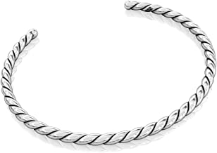 Authentic BELLA FASCINI Cuff Bangle European Bead Charm Bracelet - Solid Twisted Sterling Silver - #14
