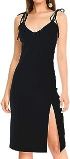 Womens V Neck Adjustable Tie Straps Split Cocktail Dress Bodycon Midi Dress