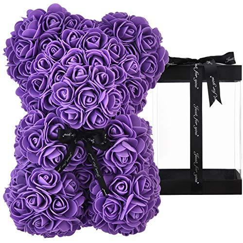 Rosa oso, regalo para mamá, mujer, para adolescentes, regalos para madres, regalos hechos a mano, osito de rosa, oso de peluche, rosa, día de San Valentín, cumpleaños – oso de rosas con caja (Morado)