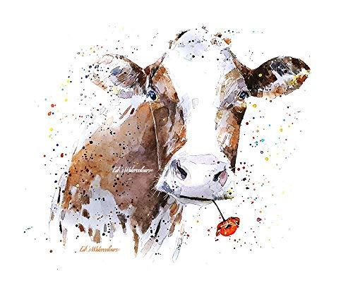 Kuh mit Blume - Aquarell Drucken, Kuh Wandkunst, Kuh Kunstdruck, Ideales Geschenk für Kuh Liebhaber
