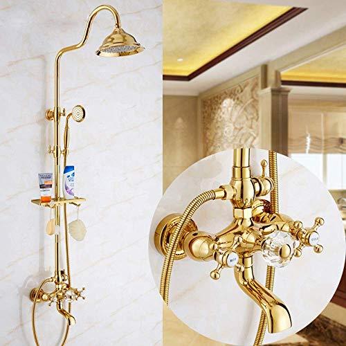 KANJJ-YU Grifo de la ducha de lujo Europeo del Cobre ducha ducha de siete vías bola de cristal de oro de ducha Cabeza Hermosa práctica Cromo