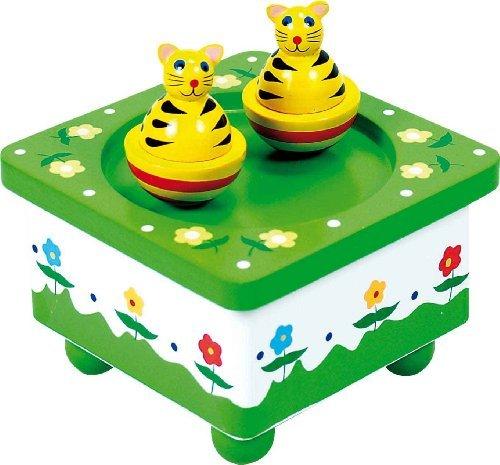 Boîte à musique en bois avec deux chats qui tournent au rythme de la musique