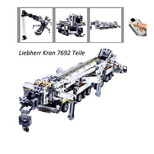 TopBau Technic Liebherr Kran 7692 Stück Custom Bausteine Ferngesteuert Kran Modell mit Motor, kompatibel mit den meisten Major Brands