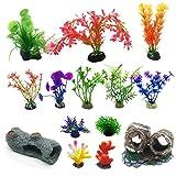 N|A Cayway 14 Pz Acuario Plantas de Plástico, 10 Pz Acuario Plantas de Plantas Artificiales 2 Pz dorno de Acuario de Resina de Madera de Decoración para Acuarios y Pecera
