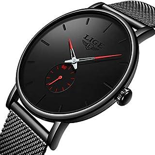 Reloj de pulsera para hombre de cuarzo analógico ultra delgado para hombres a la moda, resistente al agua, con malla de acero, para hombres y hombres