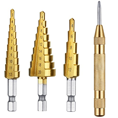6-Piece Step Drill Bit Set by Volterin Cone Titanium Coated High Speed Steel with Box Total 50 Sizes | Multi-Functional Industrial DIY Metalworking (4PC Metric)