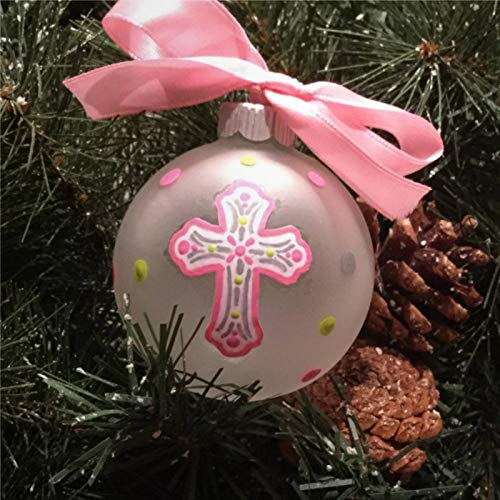 BYRON HOYLE Cross Ornament for Girl Or Boy Birthday Or Baptism Or First Communion Personalized Cross Christmas Ornament Memorial Tree Ball Ornaments Shatterproof Xmas Decor