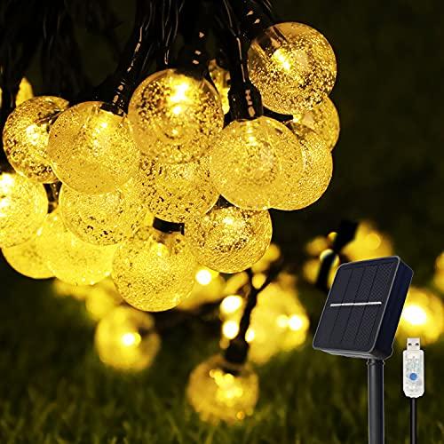 Guirnaldas Luces Exterior Solar,  COOLAPA 8M Cadena de Luces Multicolor con 50 LED Bola,  USB Recargable Luces Navidad Solar para Decoración,  Exterior,  Hogar,  Jardín,  Arboles,  Patio,  Fiesta