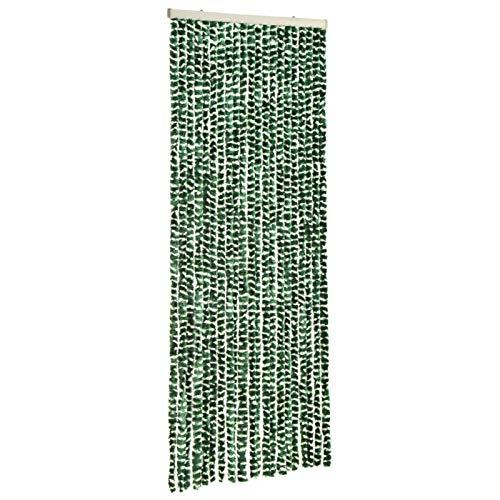 Tidyard Insektenschutz-Vorhang Fliegengitter Tür Insektenschutz Balkontür Fliegenvorhang für Balkontür Wohnzimmer Schiebetür Grün und Weiß 56x185 cm Chenille
