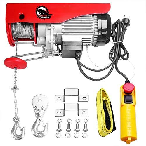 OPENROAD polipasto eléctrico Transmisión 250 kg/500 kg, 230V 800W polipasto Eléctrico de Elevación, Altura de elevación 6-12 m, Interruptor de freno de emergencia, Viene con cabestrillo y correas.