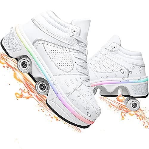 Dytxe-shelf Deformación Patines 4 Ruedas Mujer Luces Led Carga USB Patines En Línea Doble Fila para Deportes Exteriores Zapatos para Adultos
