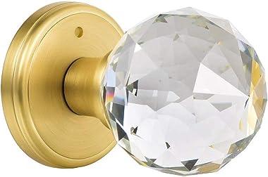 CLCTK Glass Door Knobs Interior with Lock, Privacy Bathroom Bedroom Door Knobs, Satin Brass