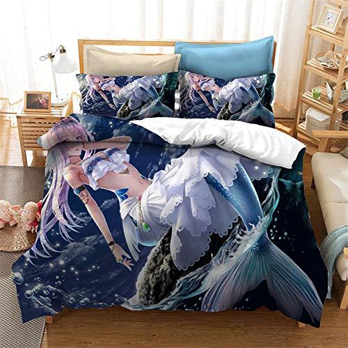 ANFDGD Arielle - Biancheria da letto in stile sirena, per ragazze, decorazione per la camera dei bambini, copripiumino 135 x 200 cm + federa 80 x 80 cm (YR-07,220 x 240 cm + 50 x 75 cm x 2)
