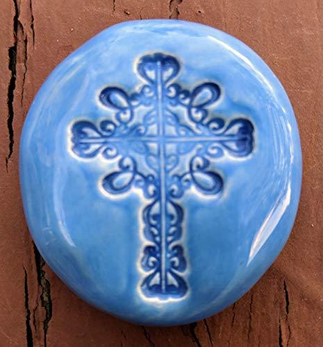 CROSS Pocket Stone - BLUEBONNET Art Glaze - Inspirational Art Piece by Inner Art Peace