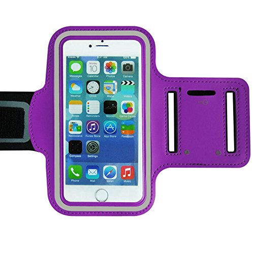 Purple Armband Exercise Workout Case with Keyholder for Jogging fits Jethro SC628 3G Senior Cell FLIP Phone. for Arms up to 12 inches Big, Works Best with no Cover on Your Phone.