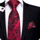 Juego de corbata y pañuelo de seda tejida con motivos florales para hombre, de Hi-Tie Rojo Floral Rojo talla única