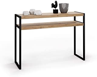 MOBILI FIVER, Table Console, Luxury, Bois Rustique, 110 x 40 x 80 cm, Mélaminé/Fer, Made in Italy
