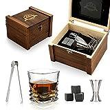 Whisky Stone Gift Set-Whisky Glass and Stone-Granit Ice Whiskey Rock-Scotch Whisky Bourbon Whisky Glass-Meilleur Cadeau à Boire pour Homme Fête d'anniversaire de père et de Mari (Inclined Glass)