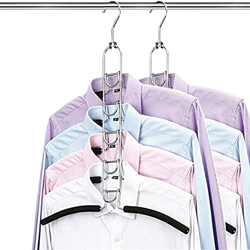 kleiderbügel platzsparend 2 Stück,5 in 1 Metall Kleiderständer,Hemden kleiderbügel,Mehrfach kleiderbügel schwarz,kleiderbügel Anzug,Multilayer Magic kleiderbügel,für Jacken Mantel Pullover T-Shirts