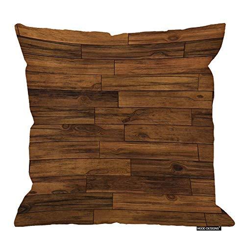 Federa per cuscino in legno, motivo parquet, in cotone e lino, motivo floreale, 40,5 x 45,6 cm