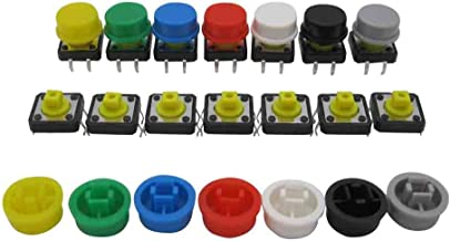 TWTADE / 70pcs Momentary Tact Tactile Push Button Switch 12x12x12mm 4 Pin + 70pcs Switch Cap (Each Color 10pcs)