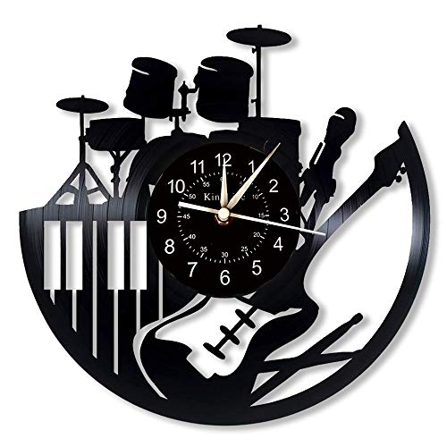 Cheemy Joint Reloj de Pared de Vinilo Musical, Guitarra Batería Piano Vinilo Grabar Reloj, Arte de Pared de Instrumentos Musicales, Reloj de 12 Pulgadas para Sala de Estar Dormitorio.