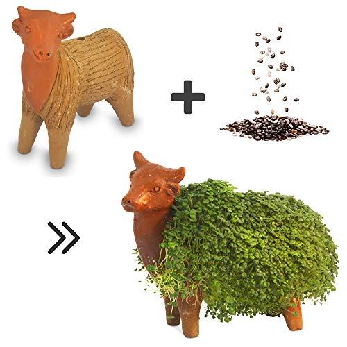Growing Fiesta Anzuchtset Kuh für Chia-Samen, Kresse, Keimsprossen (handgemachte Tonfigur, getöpfert, gebrannt) 14340