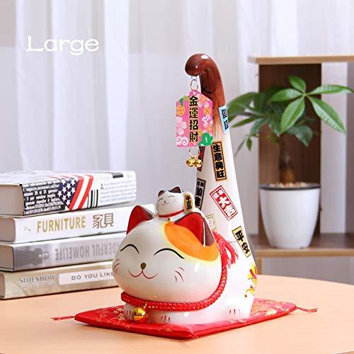 LittleBeauty Objets de Décoration 1pc Style Japonais Maneki Neko Céramique Lucky Cat Long Tail Cat...
