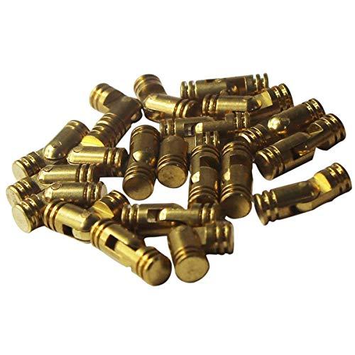 RZDEAL 20pcs Mini Brass Cylindrical Barrel Hinges Butt Hinges for Dollhouse Miniature Furniture Cabinet Closet Box (5mm x 25mm)