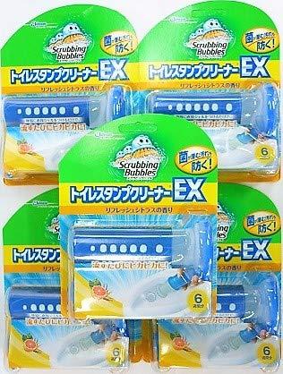 [5個セット]スクラビングバブル トイレ洗浄 トイレスタンプクリーナー トイレスタンプEX リフレッシュシトラスの香り 本体(ハンドル1本+替え1本) 38g入り×5個