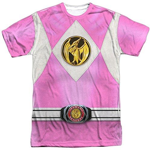 Power Rangers Mighty Morphin - Disfraz de Ranger rosa en la parte delantera y trasera para adulto con impresión en 2 lados - Blanco - Large