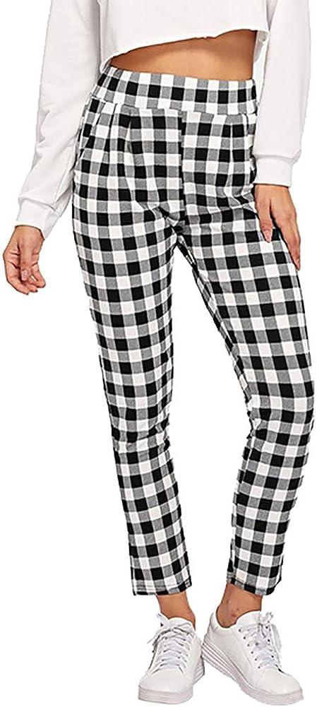 QZUnique Women's Casual Pants Elastic Baggy Trouser Pockets High Waist Slim Harem Ninth Long Grid