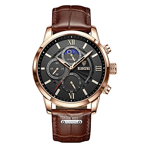 LIGE Mens Watches Fashion Chronograph Sports Gents Elegant Luxury Analog Quartz Watch 3ATM Waterproof Watch for Male Casual Leather Round Dial Calendar Business Wristwatch