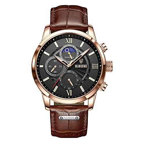 LIGE Reloj Hombre CronóGrafo Impermeable Cuarzo AnalóGico Acero Inoxidable Cuero Brazalete Sports Calendario Reloj Hombre