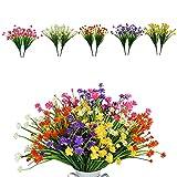 10 paquetes de flores artificiales, arbustos resistentes a los rayos UV, plantas...