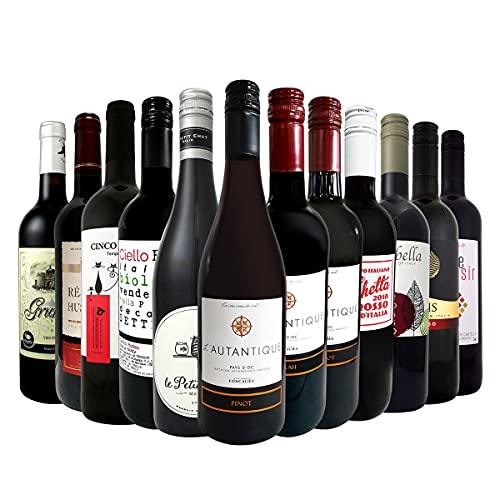赤ワイン 飲み比べセット 美味しい フランス、スペインワイン ソムリエ 厳選の旨安赤ワイン 赤ワイン12本セ...