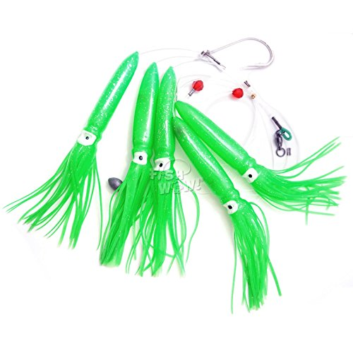 Fish WOW! Fishing Shell Squid Rig Daisy Chain Trolling Lure - Green