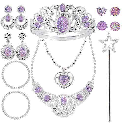 Tagitary 14 Stück Prinzessin Schmuck-Dress-Up-Zubehör Spielzeug-Set für Mädchen Prinzessin Party und Kostüme mit Kronen, Halsketten, Zauberstäbe, Ringe, Ohrringe und Armbänder
