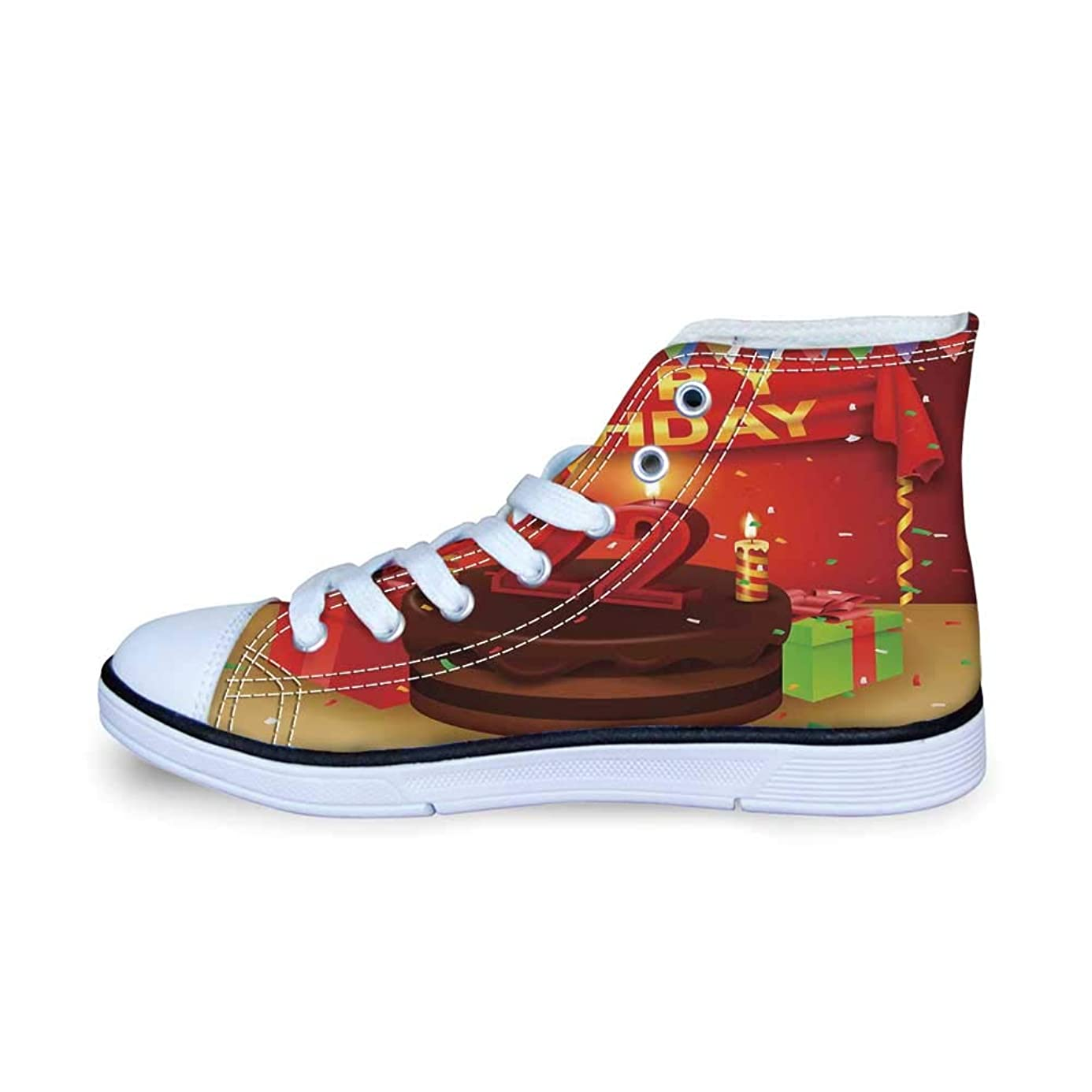 22nd Birthday Decorations Comfortable High Top Canvas Shoes,Birth Greetings Celebrate Your New Age Retro Style Design for Boys,EU29