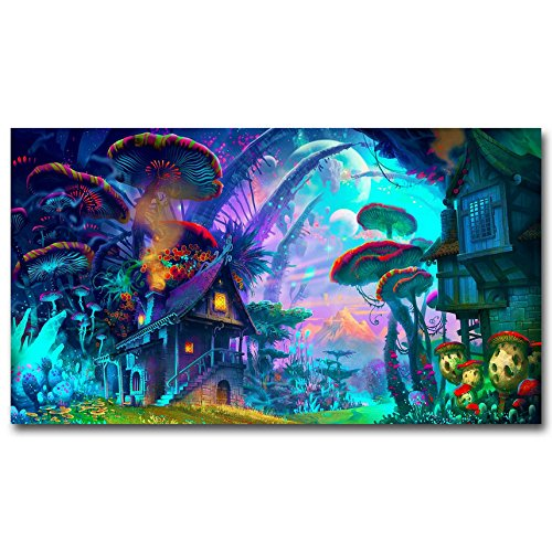 Mushroom House Trippy Psychedelic Art Silk Poster Prints Home Decoration (13x24 inches)