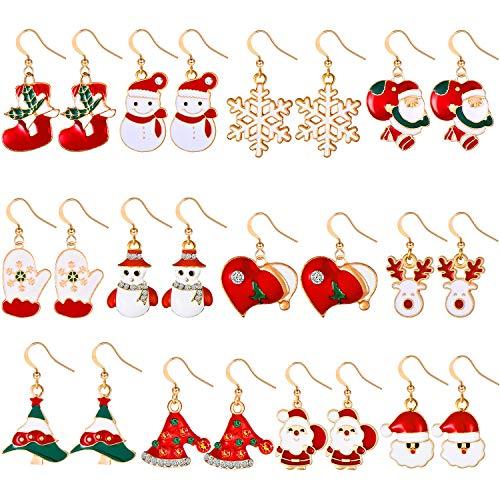 12 Paires Boucles d'Oreilles Pendantes de Goutte de Noël Stud de Noël Ensemble de Bijoux Boucles d'Oreilles de Cadeau de Noël pour Femmes Filles Enfants Bonhomme de Neige Flocon (Ensemble de Style 1)