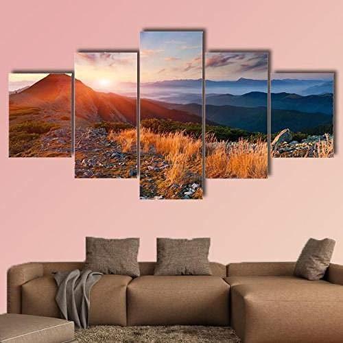 Cuadros Modernos Impresión De Imagen Artística Digitalizada, 5 Piezas Lienzo Decorativo Para Tu Salón O Dormitorioamanecer De Otoño Sobre Las Montañas5 Piezas Murales 5 Piezas Lienzo Xxl Murales