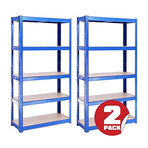 G-Rack 0020 Scaffale Garage(2 Pezzi) – Scaffalatura – 150cmx75cmx30cm – Blu – 5 (175kg a Ripiano) – capacità di Carico 875kg – Robusto, Resistente e Forte, Blue, 6 Bay