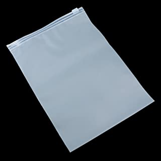 50Pcs Matte Clear Plastic Poly Storage Bag Zipper Slide Seal Packing Pouch for Cosmetic Shoes Clothes Wrapping Travel Supply Reusable (20x28cm (7.9x11 inch))