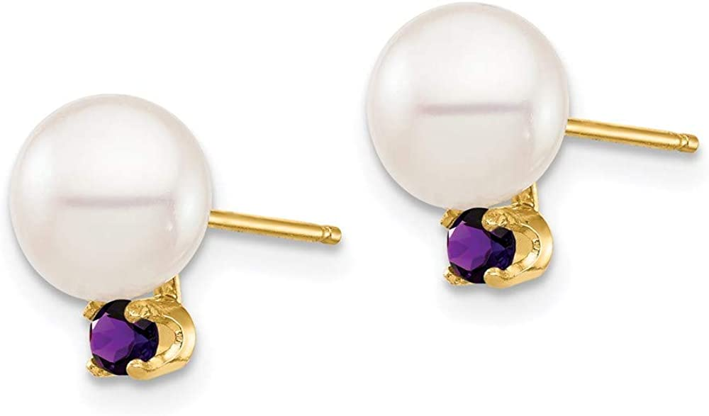 14K 7-7.5mm White Round Freshwater Cultured Pearl Amethyst Post Earrings 9.84mm style XF753E/AM