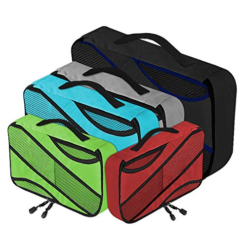 ANRUI 5pcs Packing Cubes Set,3 Different Sizes Mesh Travel Packing Organizer with Handle